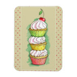 Watercolor cupcakes. Kitchen illustration. Rectangle Magnet