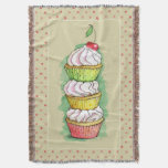 Watercolor cupcakes. Kitchen illustration. Throw Blanket