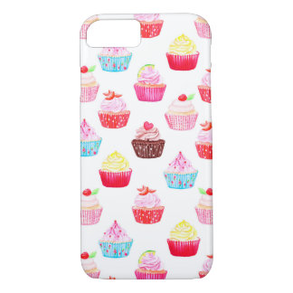 Watercolor cupcakes pattern iPhone 7 case