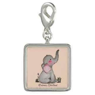 Watercolor Cute Baby Elephant With Blush & Flowers