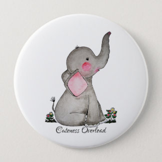 Watercolor Cute Baby Elephant With Blush & Flowers 10 Cm Round Badge
