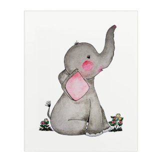 Watercolor Cute Baby Elephant With Blush & flowers Acrylic Wall Art
