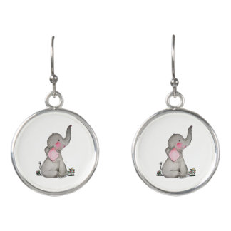 Watercolor Cute Baby Elephant With Blush & Flowers Earrings