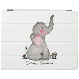 Watercolor Cute Baby Elephant With Blush & Flowers iPad Cover