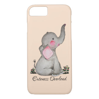 Watercolor Cute Baby Elephant With Blush & Flowers iPhone 8/7 Case