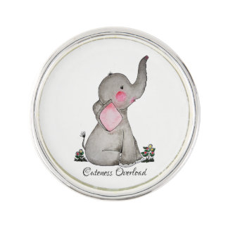 Watercolor Cute Baby Elephant With Blush & Flowers Lapel Pin