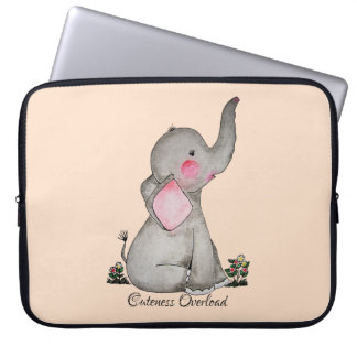 Watercolor Cute Baby Elephant With Blush & Flowers Laptop Sleeve