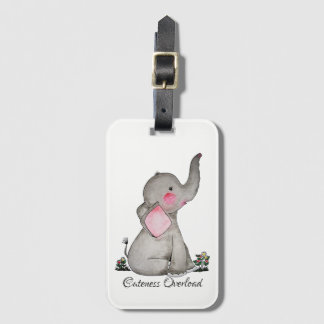 Watercolor Cute Baby Elephant With Blush & Flowers Luggage Tag