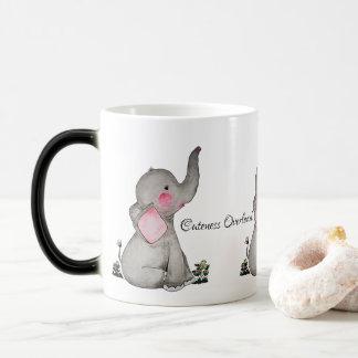 Watercolor Cute Baby Elephant With Blush & flowers Magic Mug