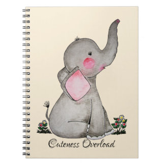 Watercolor Cute Baby Elephant With Blush & Flowers Notebook