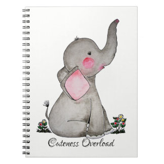 Watercolor Cute Baby Elephant With Blush & Flowers Notebooks