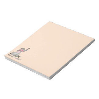 Watercolor Cute Baby Elephant With Blush & Flowers Notepad