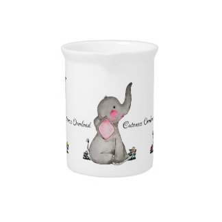 Watercolor Cute Baby Elephant With Blush & Flowers Pitcher