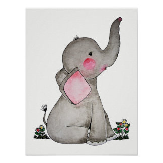 Watercolor Cute Baby Elephant With Blush & flowers Poster