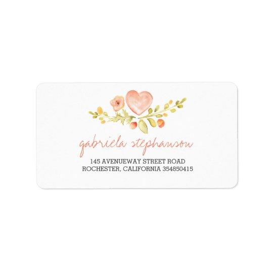 watercolor cute floral heart label