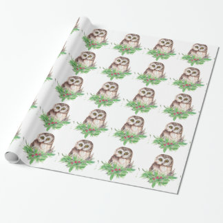 Watercolor Cute Little  Owl Bird Nature Art Wrapping Paper
