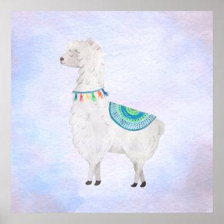 Watercolor Cute Llama 1 Poster