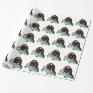 Watercolor Cute Marmot Animal Nature Art Wrapping Paper