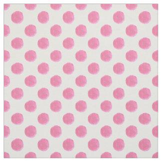 watercolor cute pink polkadots fabric