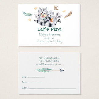 Watercolor Cute Raccoon Family Mom Calling Business Card
