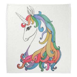 Watercolor cute rainbow unicorn bandana