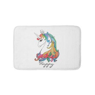 Watercolor cute rainbow unicorn bath mat