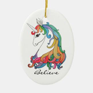Watercolor cute rainbow unicorn ceramic ornament