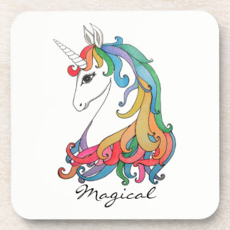Watercolor cute rainbow unicorn coaster