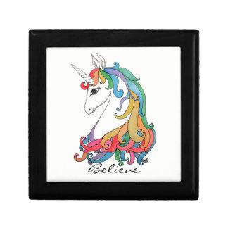 Watercolor cute rainbow unicorn gift box