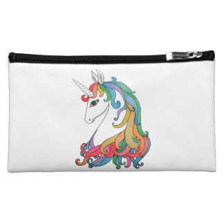 Watercolor cute rainbow unicorn makeup bag