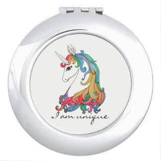 Watercolor cute rainbow unicorn makeup mirror