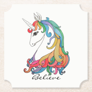 Watercolor cute rainbow unicorn paper coaster
