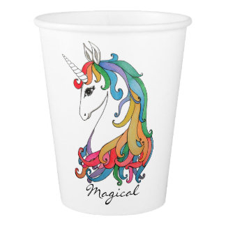 Watercolor cute rainbow unicorn paper cup