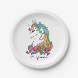Watercolor cute rainbow unicorn paper plate