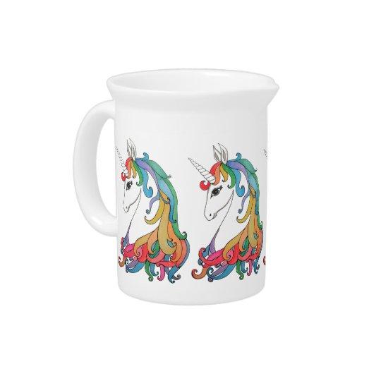 Watercolor cute rainbow unicorn pitcher