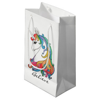 Watercolor cute rainbow unicorn small gift bag