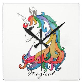 Watercolor cute rainbow unicorn square wall clock
