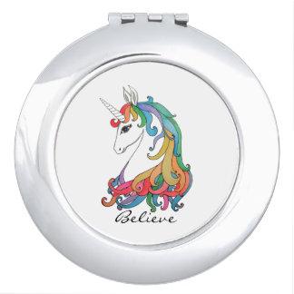 Watercolor cute rainbow unicorn vanity mirrors