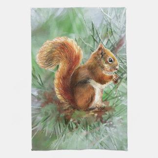 Watercolor Cute Red Squirrel Animal Nature Art Tea Towel