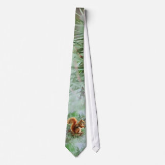 Watercolor Cute Red Squirrel Animal Nature Art Tie