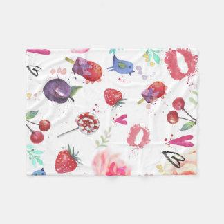Watercolor Cute Summer Eements  Fleece Blanket