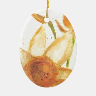 Watercolor Daffodil Ceramic Oval Decoration
