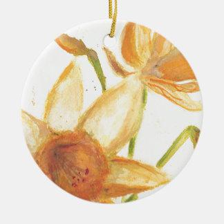 Watercolor Daffodil Round Ceramic Decoration