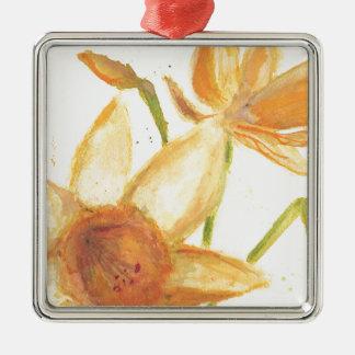 Watercolor Daffodil Silver-Colored Square Decoration