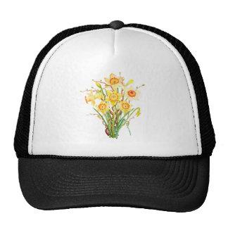 Watercolor daffodils bouquet cap