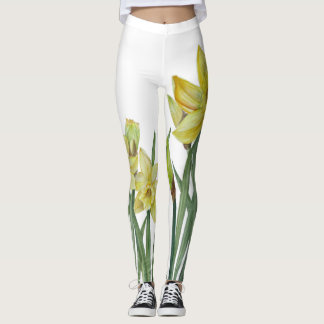 Watercolor Daffodils Flower Portrait Illustration Leggings