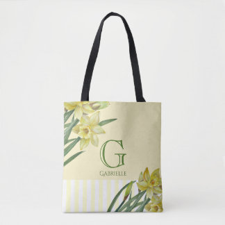 Watercolor Daffodils Flower Portrait Monogram Tote Bag