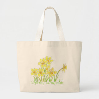 Watercolor Daffodils Yellow Spring Flowers Large Tote Bag