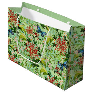 Watercolor Daisies and Butterflies Large Gift Bag