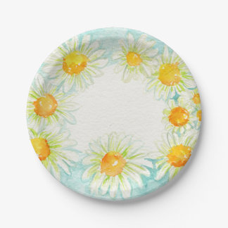 Watercolor Daisies Wreath Paper Plates